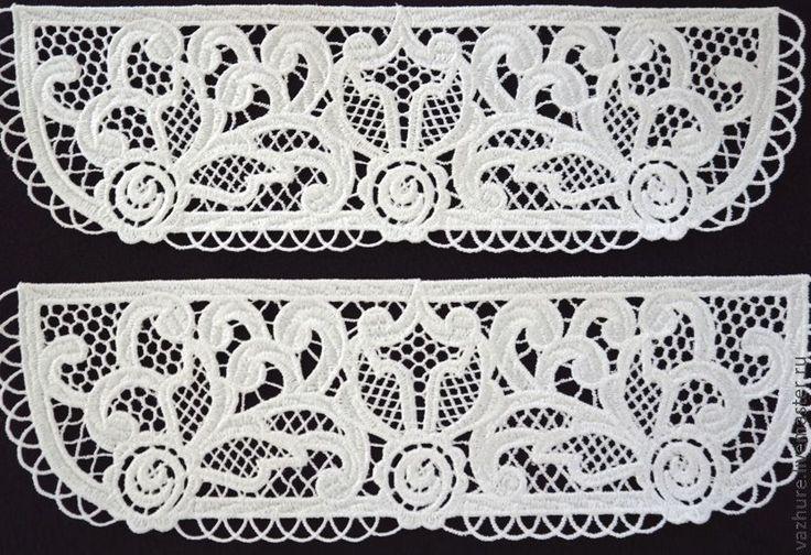 Купить Комплект№3(Воротничок+манжеты) - белый, цветочный, кружево, кружево для отделки, воротничок, воротник, воротничок ажурный