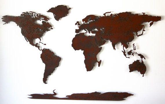 Wereld+kaart+metaal+kunst+aan+de+muur++50+door+FunctionalSculpture