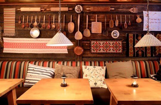 Old spoons and such hung in an interesting order. [Rustic Inspiration from Fjällpuben]