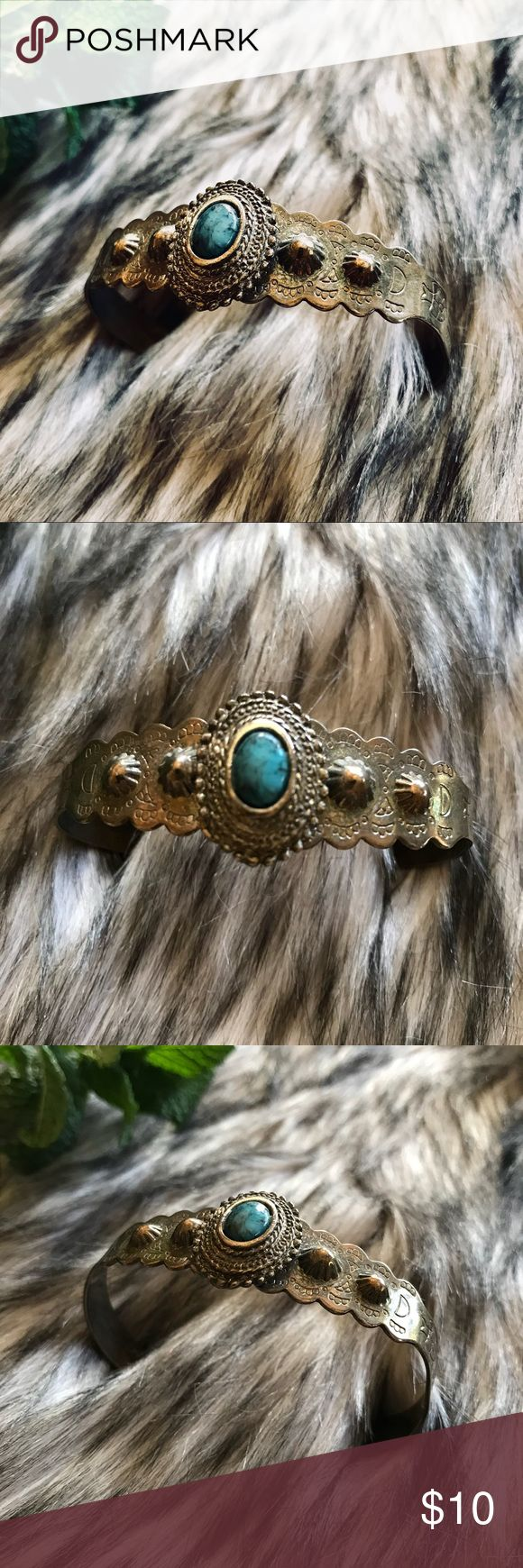 Turquoise and Silver Antique Indian Ring Burnished and mildly distressed cuff gives this bracelet a really cool antique look and feel. Never been worn and it's condition reflects that. Adjustable so you don't have to worry about fit. Simulated turquoise. Detailed etchings. If you have any questions or want more pictures please send me a message and I'll get back to you as swiftly as I can.  Also if you want check out the rest of my closet. 10% off if you bundle 3 or more items! Jewelry…