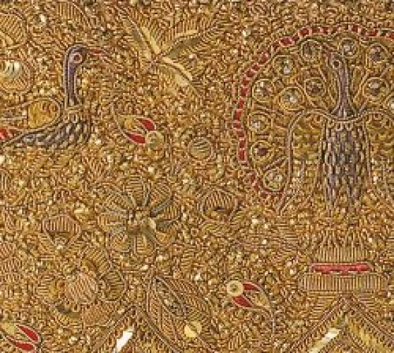Zardozi th century india material silk gold and