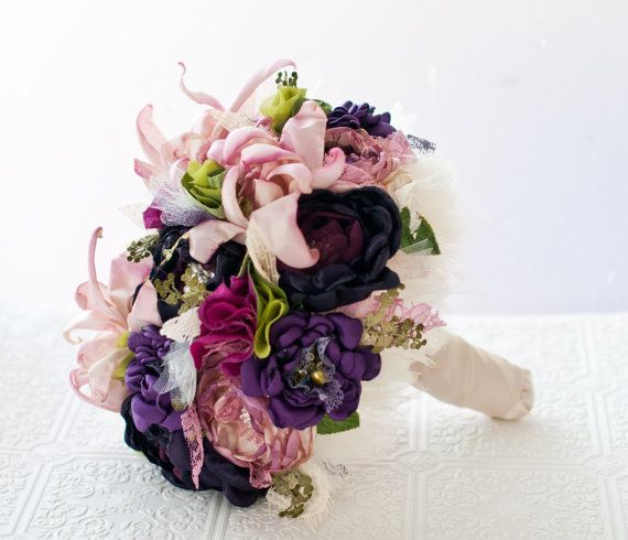 Brooch Bouquet Fabric Flower Tropical Wedding Bouquet by Cultivar, $425.00