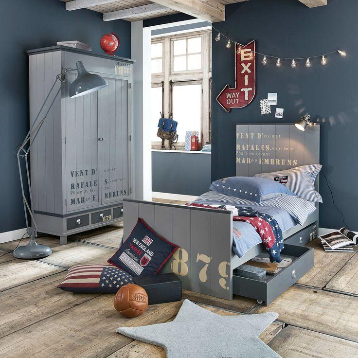Juego de cama de cambray de algodón en azul 140×200cm PRINCETON | Maisons du Monde