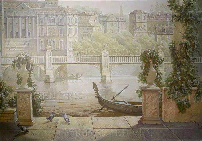 детали пейзажа Венеции- гондолы на реке