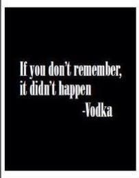 if you don't remember it didn't happen vodka.....