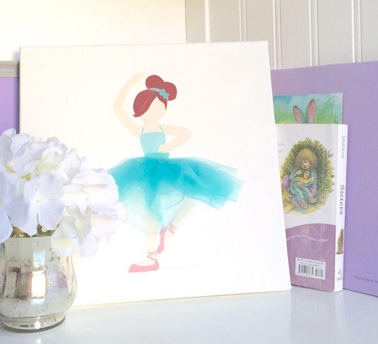 Ballerina Teal on Canvas, Ballerina Art, Ballerina Nursery Art, Ballerina Girls Room Art, Baby Shower, Baby Shower Art, Teal Nursery Art by LetsPretendArt on Etsy https://www.etsy.com/listing/247440964/ballerina-teal-on-canvas-ballerina-art