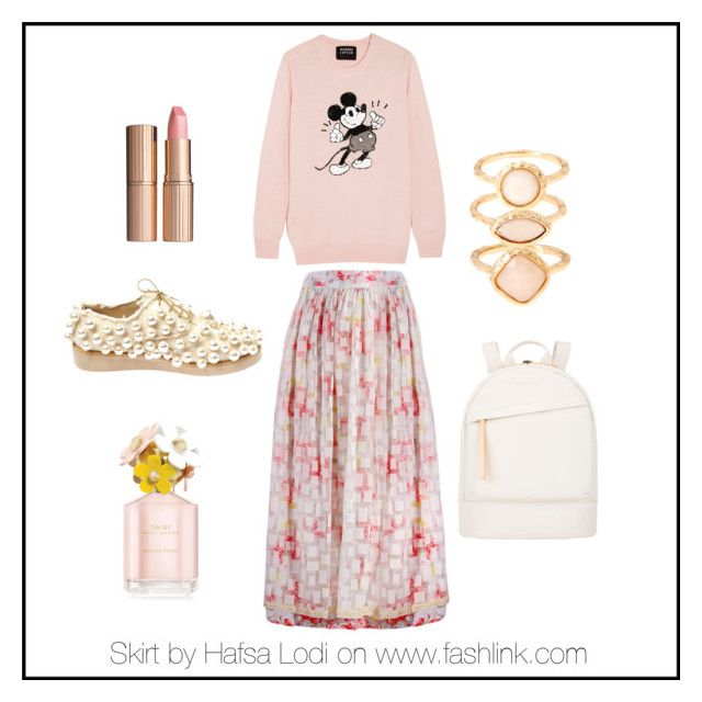 pinks rose skirt by hafsa-lodi on Polyvore featuring Markus Lupfer, Anouki, Want Les Essentiels de la Vie, Monsoon, Charlotte Tilbury and Marc Jacobs