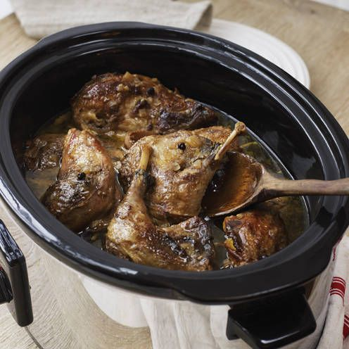 Pheasant cooks until tender in this luxurious slow cooker recipe.