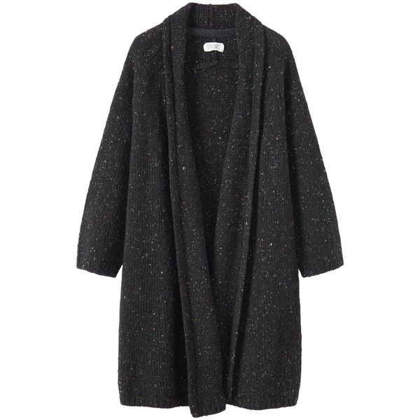 Toast Donegal Knitted Wool Coat (¥33,410) ❤ liked on Polyvore featuring outerwear, coats, black, cardigans, sweaters, leather-sleeve coats, cocoon coat, long sleeve coat, collar coat and print coat