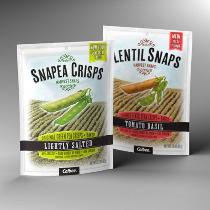 This brand positioning, the new umbrella brand name, Harvest Snaps, and the addition of a complementary Lentil Snaps product line was basis for the packages' new, dramatic look and feel. Front panel graphics underscore the brand's obsession with wholesome, natural ingredients while back panel content shares its fun, quirky product story.  Design Firm: Catapult Strategic Design