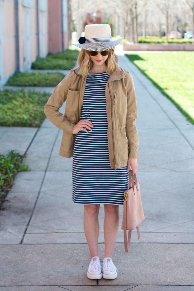 striped jersey dress, khaki fleet jacket, white Chucks, pom pom straw hat