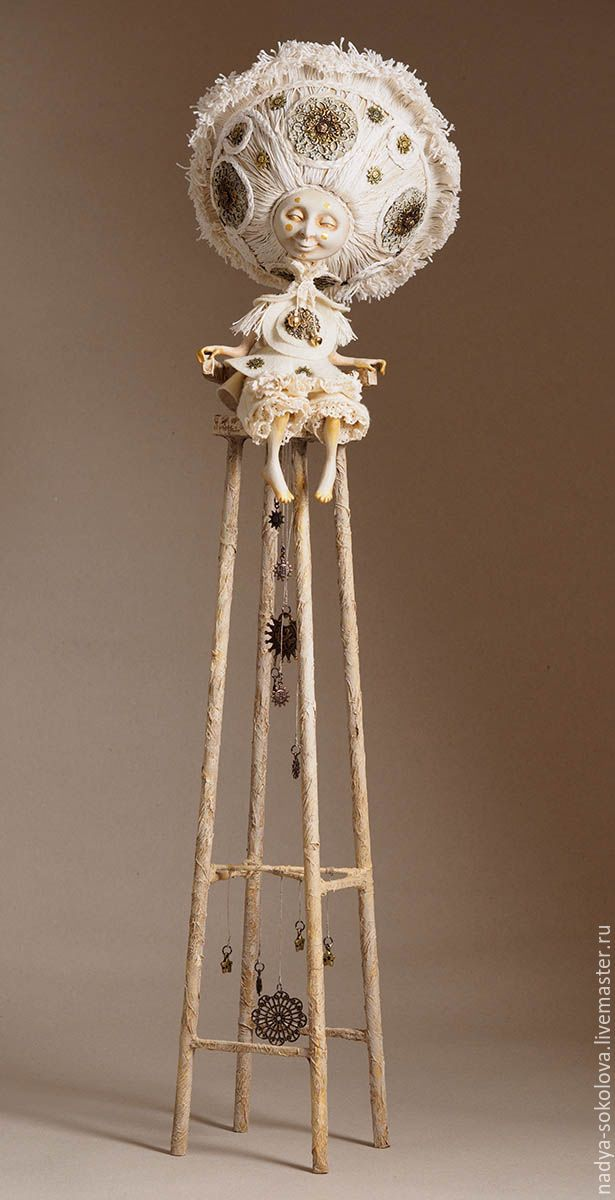 Art doll (papier-mache, brass, wood)
