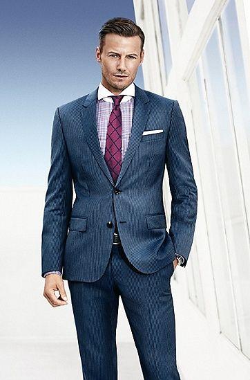 'Huge/Genius' | Slim Fit, Super 100 Virgin Wool Pinstripe ...
