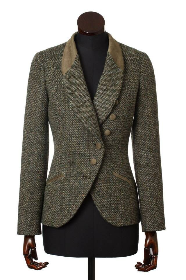 Walker Slater shop in Edinburgh, Scotland - the Emma bespoke in Harris Tweed Barleycorn weave in tan.