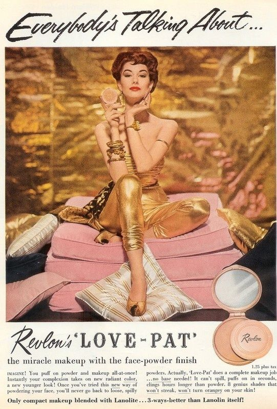 vintage 1950s Revlon ad with amazing gold outfit! I love everything about this ad!