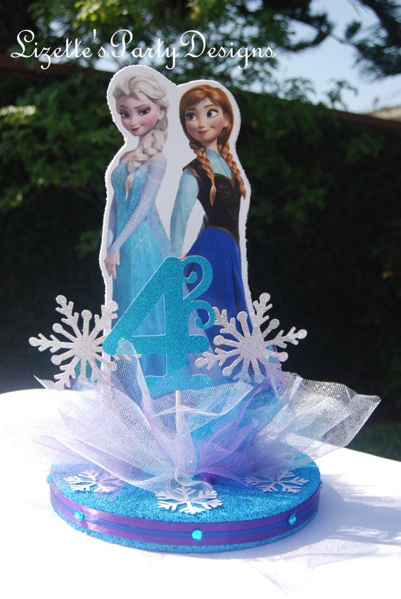 12 inch Frozen Themed Anna and Elsa Centerpiece