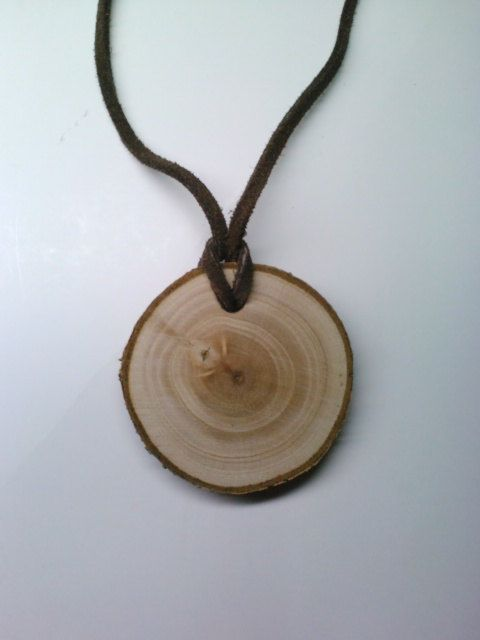 Wood Pendant Necklace, Log Slice Necklace, Rustic Jewelry
