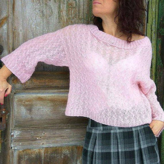 Light Pink Sweater Pale Pink Sweater Loose Mohair Sweater