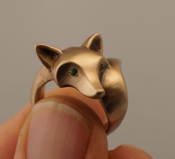 fox ring. Bronze pick your eye color by Michaeltatom on Etsy