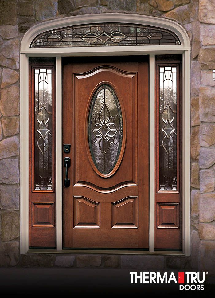 Therma tru classic craft mahogany collection fiberglass for Exterior front entry wood doors with glass
