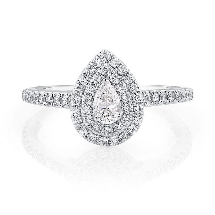 Michael Hill Designer Arpeggio Engagement Ring with 0.87 Carat TW of Diamonds in 14ct White Gold