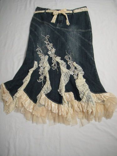 brown lace denim skirt | New West 36th Ladies XL Skirt Denim Lace Rhinestones Beading ...