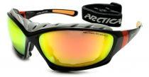 Sportliches Arctica S-219 Sonnenbrillenmodell mit Plastikrahmen. An den Bügeln befindet sich die Arctica Aufschrift.
