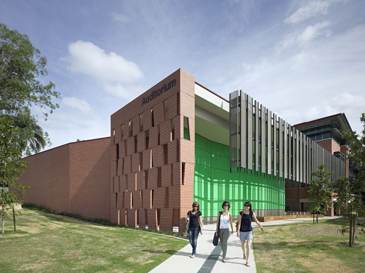 Ipswich Auditorium designed by Wilson Architects, Brisbane Queensland   A creative brick design was used a feature for this building.   #studentspace #architecture #design