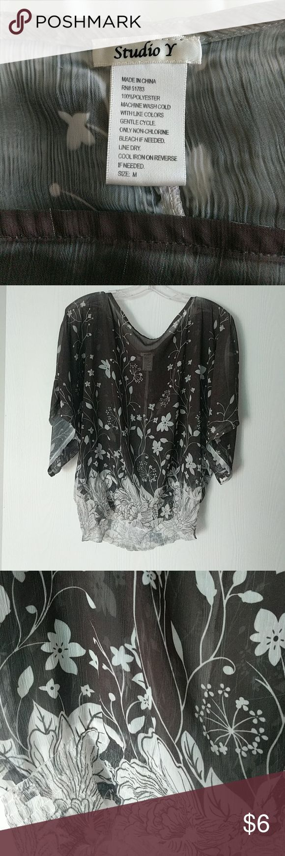 Brown and green see through blouse Lightly worn, non smoking household, in good condition, hangs well on, bought at Maurices Studio Y Tops Blouses