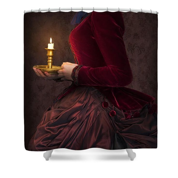 Victorian Shower Curtain featuring the photograph Victorian Woman In A Red Bussle Dress Holding A Candle At Night by Lee Avison