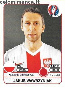 UEFA EURO 2016™ Official Sticker Album: Fronte Figurina n. 299 Jakub Wawrzyniak
