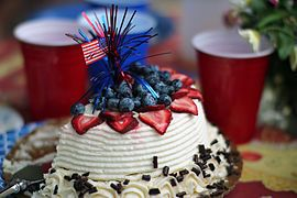 Independence Day (United States) A festively decorated Fourth of July cake   https://en.wikipedia.org/wiki/Independence_Day_(United_States)