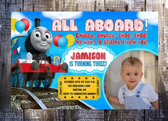 86 best thomas/train invitations images on pinterest | thomas the, Party invitations