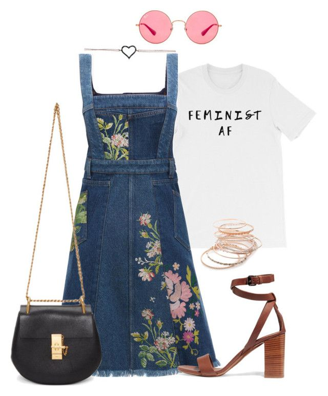 """""""June 18"""" by bubble-tea-dan ❤ liked on Polyvore featuring Alexander McQueen, Vince, Chloé, Red Camel, Ray-Ban, floralprint, women, fashionset and embroidery"""