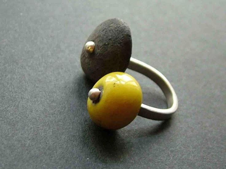 raku ceramic and sterling ilver ring