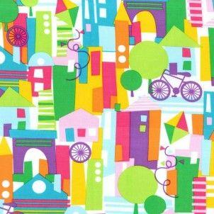 Michael Miller - Happy Town Multi - cotton fabric
