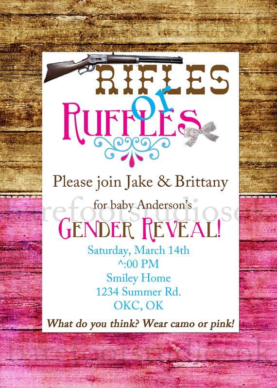 Rifles or Ruffles Banner Gender Reveal banner by WeefersDesigns - invitation to a party