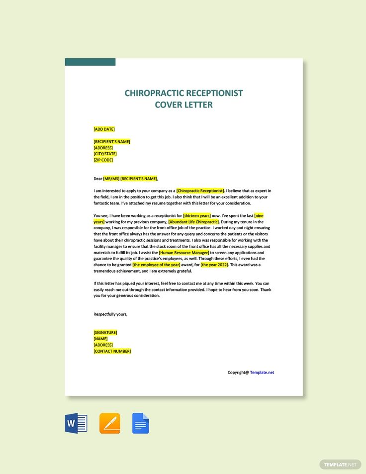 Free sample chiropractic receptionist cover letter