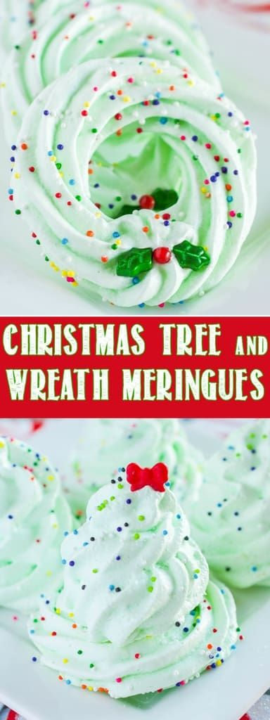 Christmas Tree and Wreath Meringue Cookies are fun and beautifully festive! A light crunch on the outside, with a slightly chewy, airy center. Delightful! #christmas #cookies #meringues