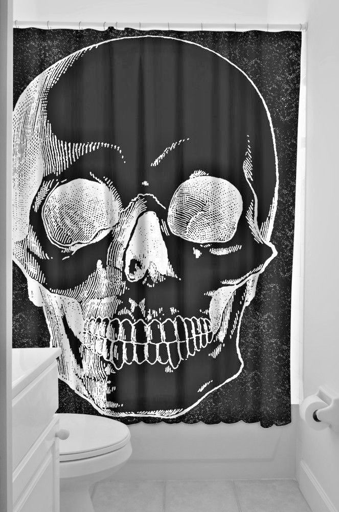 Sourpuss Anatomical Skull Shower Curtain Punk Gothic Horror Halloween Hooks Gift Sourpuss Gothic Skull Shower Curtain Skull Goth Decor