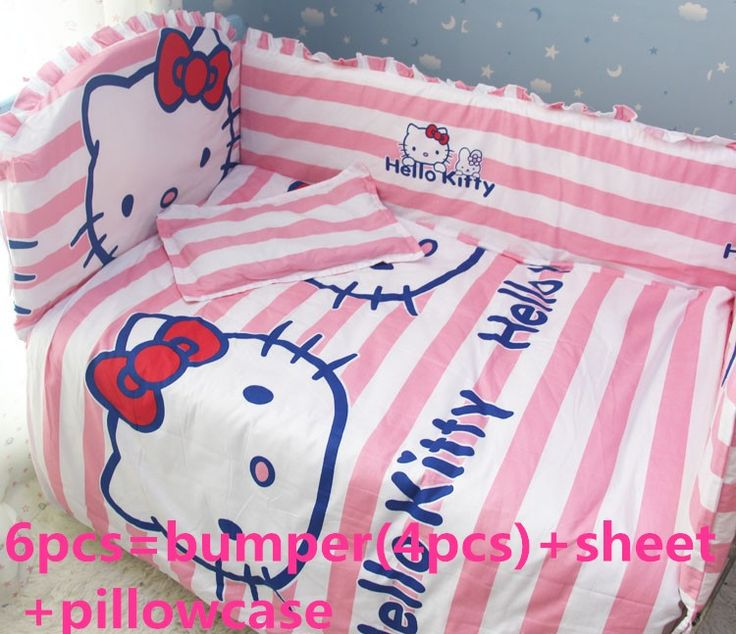 Discount! 6/7pcs Hello Kitty 100% cotton Baby Bedding Set for Girls Crib Cot Quilts Bumpers Newborn ,120*60/120*70cm