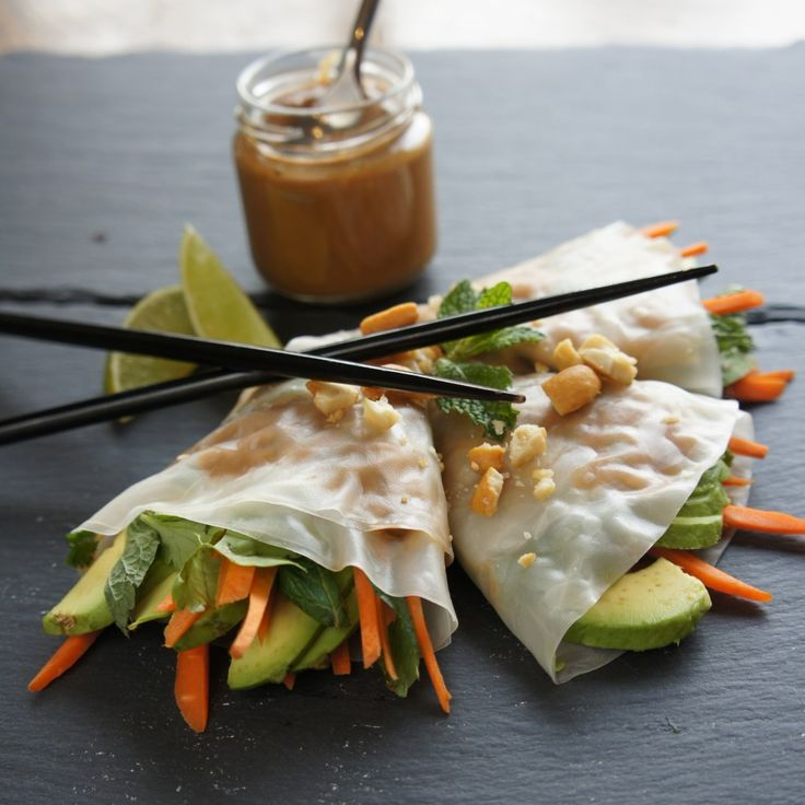 Avocado Spring Rolls with Peanut Dipping Sauce // light, healthy, fresh via Cooking Haven