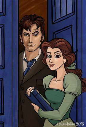 Dr. who Disney crossover fan art; if any Disney princess were to run off with The Doctor, it would be Belle!