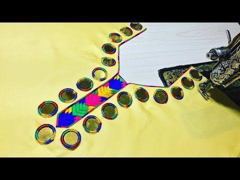 Latest Bridal Phulkari Mirror Neck Design For Kameez/Suit/Blouse Cutting and Stitching - YouTube