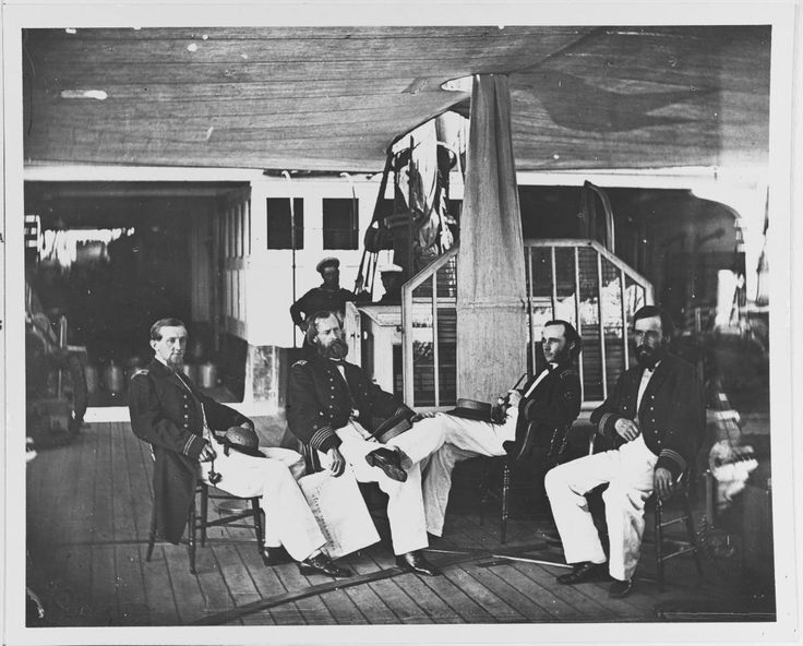 #OnThisDay in 1864, the USS Agawam arrives at Hampton Roads, joining other Union warships to maintain domination of the James River. Here, some of the ship's officers relax on deck in the summer of 1864. They are (from left to right): Assistant Paymaster H. Melville Hanna; Commander Alexander C. Rhind, Commanding Officer; Assistant Surgeon Herman P. Babcock; and Lieutenant George Dewey. Photo: Courtesy of the Library of Congress. U.S. Naval History and Heritage Command Photograph.