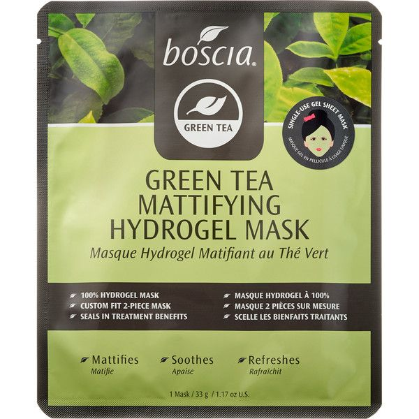 boscia Green Tea Mattifying Hydrogel Mask ($8) ❤ liked on Polyvore featuring beauty products, skincare, face care, face masks, fillers, beauty, mask, skin, green tea mask and facial mask