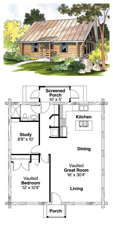Log Home Plan 69498   Total Living Area: 960 sq. ft., 1 ...