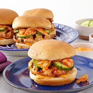 Korean Turkey Burgers with Kimchi Recipes from the July/August 2013 Issue of EatingWell | Eating Well