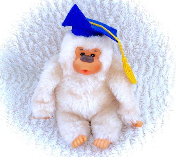 Vintage Monchhichi Albino White Ape Gorilla by CuteVintageToys
