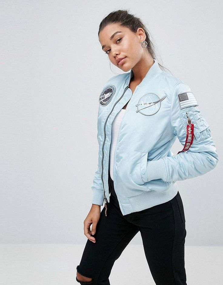 Ma-1 Nasa Bomber Jacket With Patches - Blue